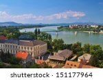 Small photo of View of an Esztergom in Hungary and Sturovo in Slovakia with Maria Valeria Bridge between.