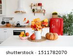 Autumn Table With Vegetables In ...
