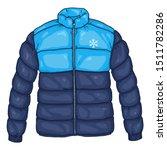 vector cartoon blue down jacket ... | Shutterstock .eps vector #1511782286