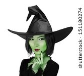 Halloween. Beautiful Witch In ...