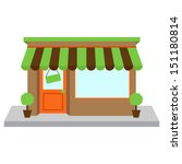 Vector Store Front or Shop with Window and Sign - stock vector