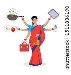 indian multitasking woman... | Shutterstock .eps vector #1511836190