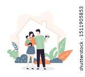 hapy family near new home.... | Shutterstock .eps vector #1511905853
