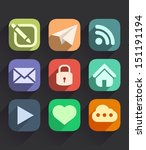 set of flat icons for web and...