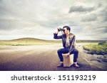 young man looks with binoculars ... | Shutterstock . vector #151193219