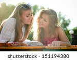 two happy women reading menu in ... | Shutterstock . vector #151194380