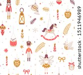 Vector Christmas seamless pattern with nutcracker, ballerina, soldier, rocking horse, horn, drum and Christmas ornaments. Vintage holiday repeated texture with New Year toys and decoration.