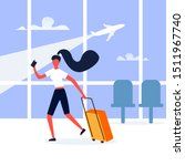 woman in the airport terminal... | Shutterstock .eps vector #1511967740