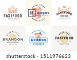 hand drawn fast food logos and... | Shutterstock .eps vector #1511976623