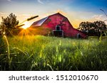 Sunset At The Old Red Barn In...