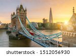 London Tower Bridge, the UK. Sunset with beautiful clouds - stock photo