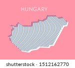 pink striped map of hungary | Shutterstock .eps vector #1512162770