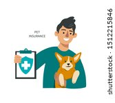 man with a dog shows pet... | Shutterstock .eps vector #1512215846