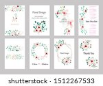 set of cards with roses leaves... | Shutterstock .eps vector #1512267533