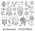 ethnic boho set with hand  moon ... | Shutterstock .eps vector #1512278633