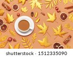 autumn composition. white cup...   Shutterstock . vector #1512335090