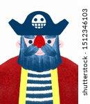 Cute Cartoon Pirate Textured...
