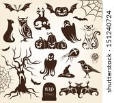 set of halloween decorative... | Shutterstock .eps vector #151240724