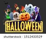 happy halloween card. drip text ...   Shutterstock . vector #1512433529