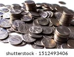 Four Stacks Of 25 Cent American ...