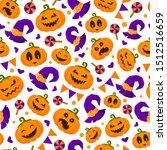 halloween seamless pattern with ... | Shutterstock .eps vector #1512516659