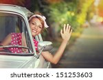a young woman waving and goes... | Shutterstock . vector #151253603