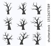 set of naked trees silhouettes... | Shutterstock .eps vector #1512637589
