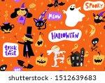 halloween seamless pattern with ... | Shutterstock .eps vector #1512639683