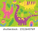 dino seamless pattern with... | Shutterstock .eps vector #1512643769