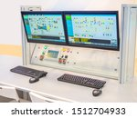 Small photo of Dispatch center. Control Center at the factory. Screens in the office of the dispatcher. Plant management system. Place of business management. Workplace dispatcher. Hardware and software system.