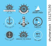 set of vintage nautical labels  ... | Shutterstock . vector #151271150