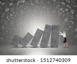 Small photo of Young businesswoman holding declining concrete graph in room with business icons. Concept of financial crisis and wrong business strategy. Mock up