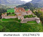 Aerial view of the medieval Gruyere castle, Canton of Fribourg, Switzerland