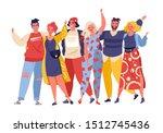 portrait of cute joyful friends.... | Shutterstock .eps vector #1512745436