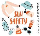 sun safety. cute cartoon set... | Shutterstock .eps vector #1512747953