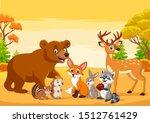 Cartoon Wild Animals In The...