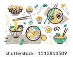 ramen soup hand drawn vector... | Shutterstock .eps vector #1512813509