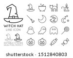 witch hat halloween line icon... | Shutterstock .eps vector #1512840803
