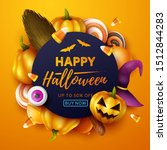 happy halloween background.... | Shutterstock .eps vector #1512844283
