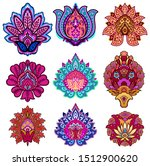 set of 9 vintage damask flowers ... | Shutterstock .eps vector #1512900620