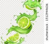 lime fruit in green juice... | Shutterstock .eps vector #1512944636