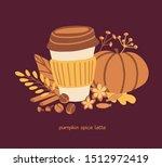 vector card design pumpkin... | Shutterstock .eps vector #1512972419