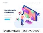 social media marketing landing... | Shutterstock .eps vector #1512972929