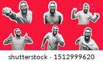 crazy hipster guy emotions....   Shutterstock . vector #1512999620