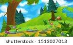 cartoon summer scene with path... | Shutterstock . vector #1513027013