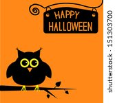 happy halloween  cute owl card. ... | Shutterstock .eps vector #151303700
