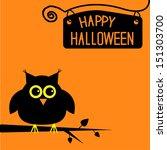 happy halloween  cute owl card. ... | Shutterstock .eps vector #151303700