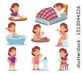 girl daily activities. children ... | Shutterstock .eps vector #1513044326