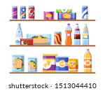 beverage food on shelves. fast... | Shutterstock . vector #1513044410