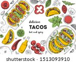 tacos cooking and ingredients... | Shutterstock .eps vector #1513093910